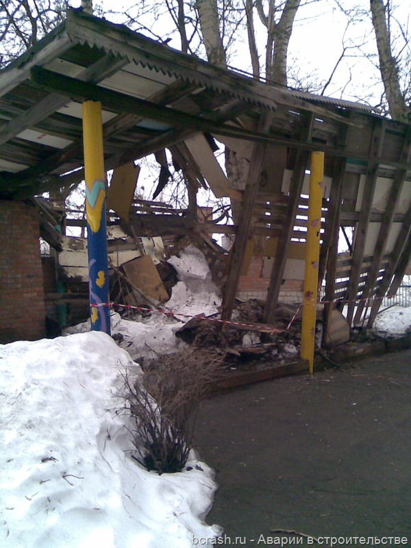 Тула. Обрушение веранды детского сада на улице Сурикова
