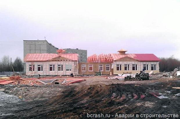 Кандалакша. Обрушение строящегося садика. Фото